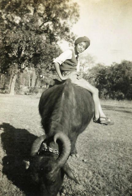 Surinder on a buffalow