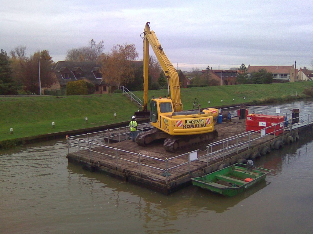 dredger operating from a barge