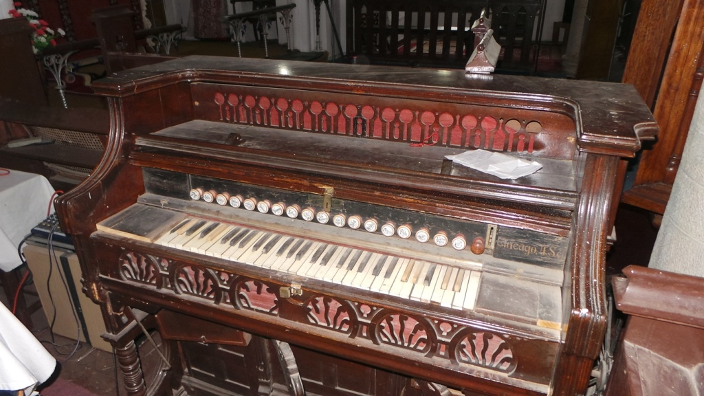 antique piano at church