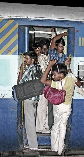 hanging on train