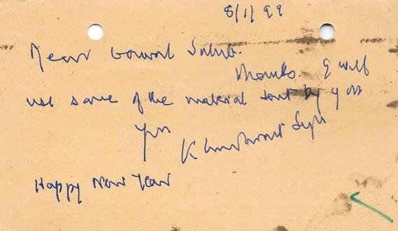 Khushwant postcard to surjit