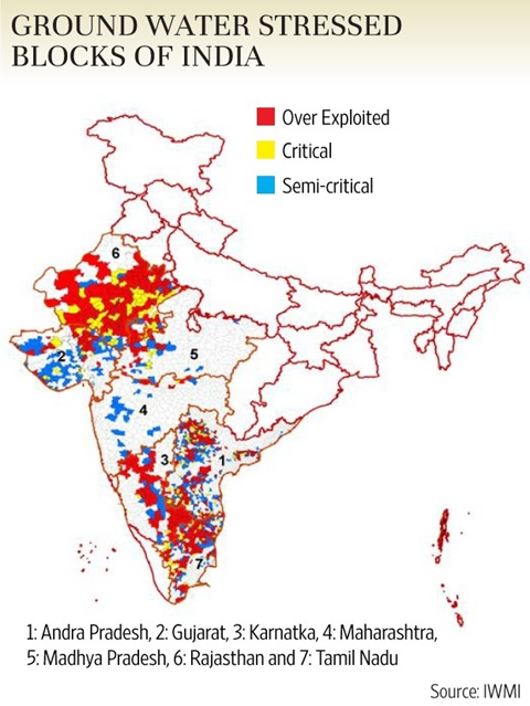 gound water stressed states india